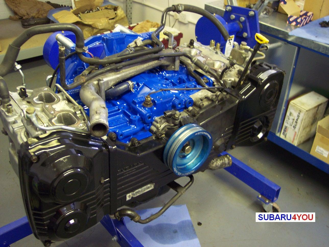 Subaru 2.35 Engine build cambelt covers fitted