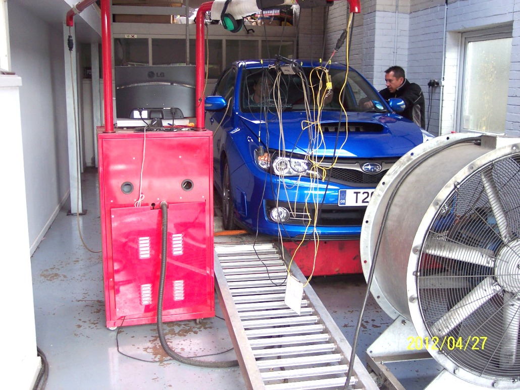 Car on Dyno Rolling Road