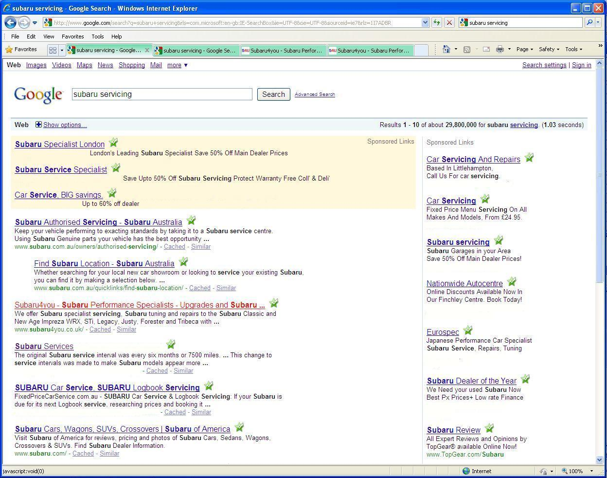 Subaru Website in Google World Results